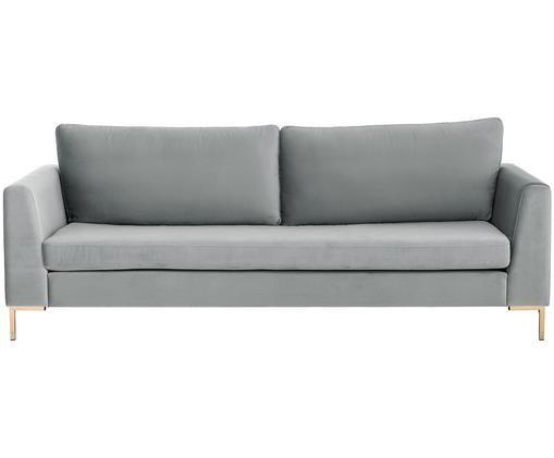 Samt-Sofa Luna (3-Sitzer), Bezug: Samt (Polyester) 80.000 S, Gestell: Massives Buchenholz, Füße: Metall, galvanisiert, Samt Hellgrau, Gold, B 230 x T 95 cm