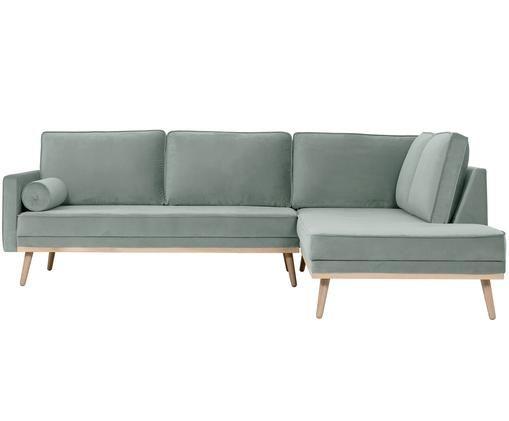 Sofa narożna z aksamitu Saint (3-osobowa), Tapicerka: aksamit (poliester) 3500, Stelaż: masywne drewno dębowe, pł, Szałwiowy zielony, S 243 x G 220 cm