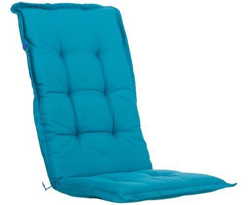 Matelas de chaise avec dossier monochrome Panama, Bleu turquoise