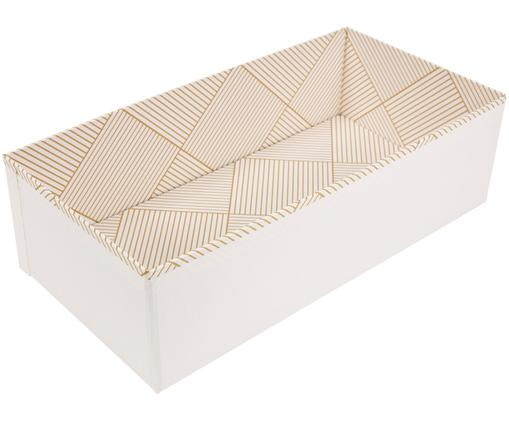 Scatola Drawer, Solido, cartone laminato, Dorato, bianco, L 36 x A 10 cm