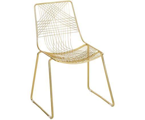 Stuhl Melody, Metall, beschichtet, Goldfarben, leicht glänzend, 48 x 83 cm