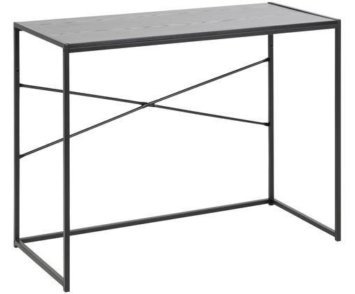 Biurko Seaford, Stelaż: metal malowany proszkowo, Blat: płyta pilśniowa średniej , Czarny, S 100 x G 45 cm