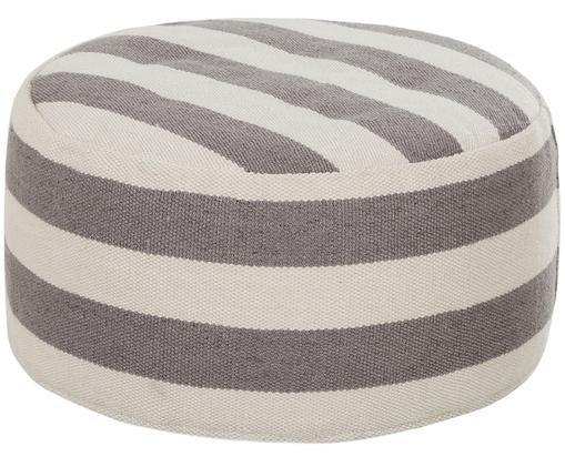 Rundes In- und Outdoor-Bodenkissen Lani, Bezug: Polyester, recycelt, Grau, Ecru, ∅ 65 x H 30 cm