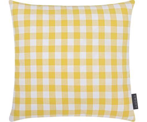 Poszewka na poduszkę Lena, Bawełna, Żółty, biały, S 40 x D 40 cm