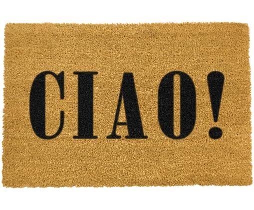 Fußmatte Ciao, Kokosfaser, Fußmatte: Beige, Schriftzug: Schwarz, 40 x 60 cm