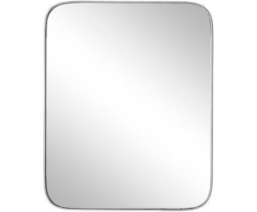 Eckiger Wandspiegel Mylia mit gebürstetem Silberrahmen, Rahmen: Mitteldichte Holzfaserpla, Spiegelfläche: Spiegelglas, Silberfarben, 41 x 51 cm