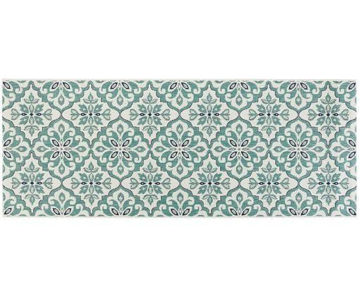 Alfombra Jewel, Crema, turquesa, azul, An 80 x L 200 cm