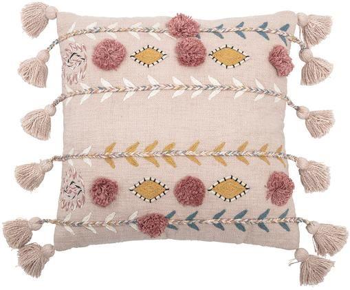 Geborduurd kussen Arbutus, met vulling, Beige, geel, roze, wit, 50 x 50 cm