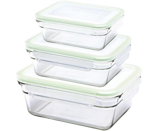Set contenitori per alimenti Luna, 3 pz., Contenitore: vetro temperato, privo di, Trasparente, verde chiaro, Diverse dimensioni
