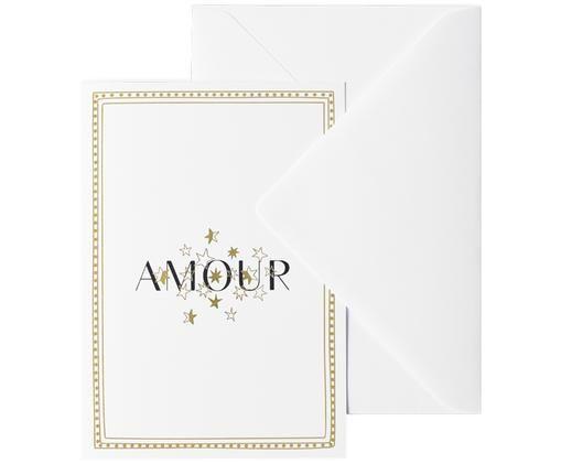 Grußkarte Amour, Papier, Weiß, Goldfarben, Schwarz, 12 x 16 cm