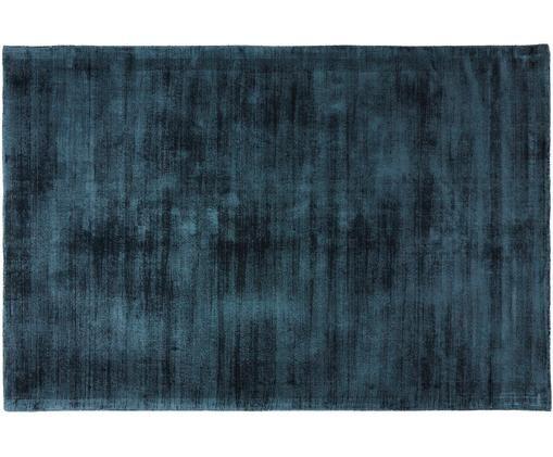 Tappeto in viscosa tessuto a mano Jane, Vello: 100% viscosa, Retro: 100% cotone, Petrolio, Larg. 120 x Lung. 180 cm