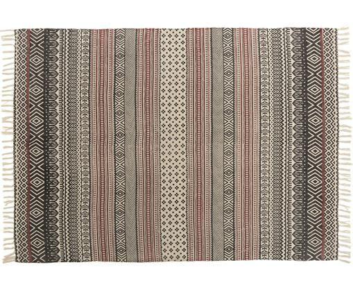 Tappeto a motivi in cotone Sören, Cotone, Nero, rosso, crema, Larg. 140 x Lung. 200 cm (taglia S)