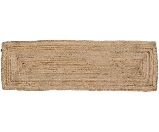 Alfombra artesanal Ural, Yute, Beige, An 60 x L 190 cm