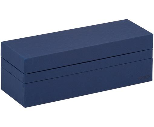 Set scatole custodia Tray Box, 3 pz., Cartone solido, laminato, Blu scuro, L 24 x P 9 cm