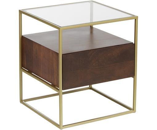 Table d'appoint avec tiroir Theodor, Transparent, bois de manguier, couleur dorée
