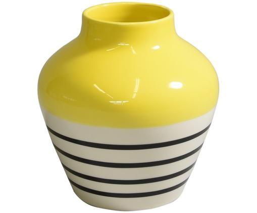 Ręcznie malowany wazon Madalin, Czarny, biały, żółty