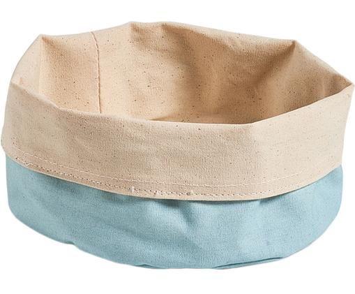 Brotkorb Cozy in Blau/Beige, Baumwolle, Hellblau, Beige, Ø 20 x H 12 cm