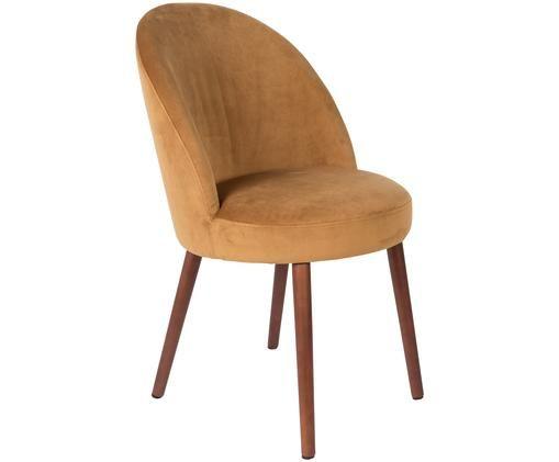 Fluwelen stoel Barbara, Bekleding: 100% polyester fluweel, Poten: gelakt beukenhout, Bekleding: geel. Poten: walnootbruin, 51 x 86 cm