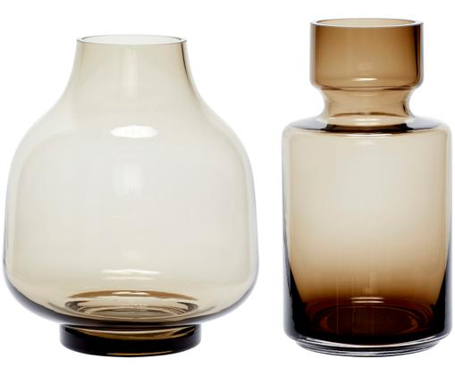 Ensemble de vases en verre Mary-Jane, 2élém., Brun clair, transparent