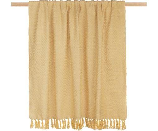 Plaid Check, Baumwolle, Beige, Gelb, 130 x 170 cm