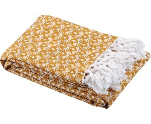 Pled Palma, Bawełna, Żółty, biały, S 130 x D 170 cm