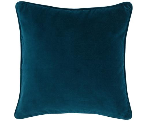 Poszewka na poduszkę z aksamitu Dana, 100% aksamit bawełniany, Niebieski petrol, S 50 x D 50 cm