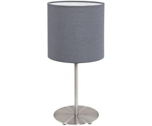 Tischleuchte Mick, Lampenschirm: Textil, Lampenfuß: Metall, vernickelt, Grau,Silberfarben, ∅ 18 x H 40 cm