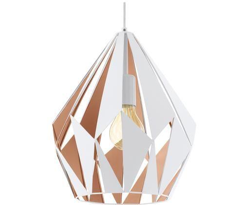 Lampada a sospensione scandi Carlton, Acciaio verniciato, Esterno: bianco interno: dorato rosa, Ø 31 x Alt. 40 cm
