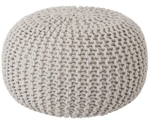 Pouf in maglia fatto a mano Dori, Rivestimento: 100% cotone, Beige, Ø 55 x Alt. 35 cm