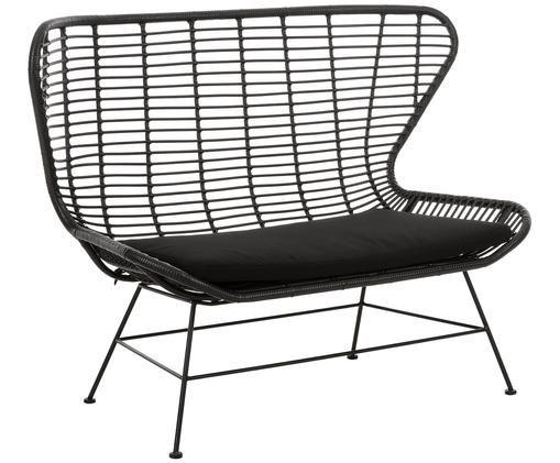 Garten-Sitzbank Costa mit Kunststoff-Geflecht, Sitzfläche: Polyethylen-Geflecht, Gestell: Metall, pulverbeschichtet, Schwarz, B 137 x T 73 cm