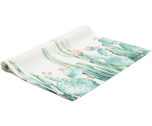Runner da tavolo Prickly, Bianco, tonalità turchesi, tonalità verdi, arancione, Larg. 50 x Lung. 140 cm