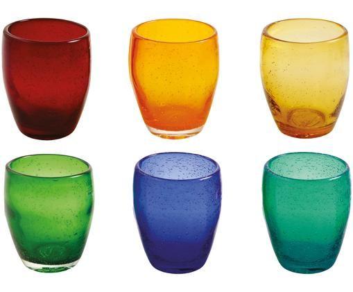 Komplet szklanek do wody Acapulco, 6 elem., Czerwony, pomarańczowy, żółty, jasny zielony, purpurowy, ciemnyzielony