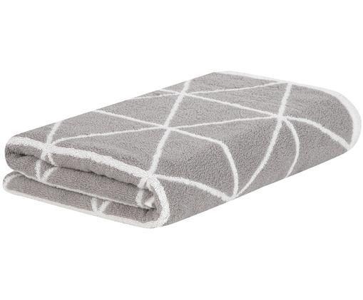 Wende-Duschtuch Elina mit grafischem Muster, Grau, Cremeweiß