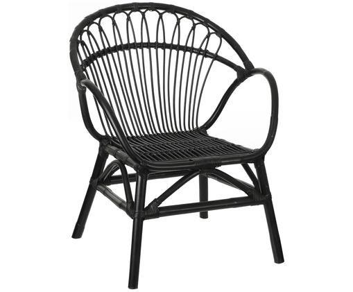 Chaise en rotin à accoudoirs Martino, Noir