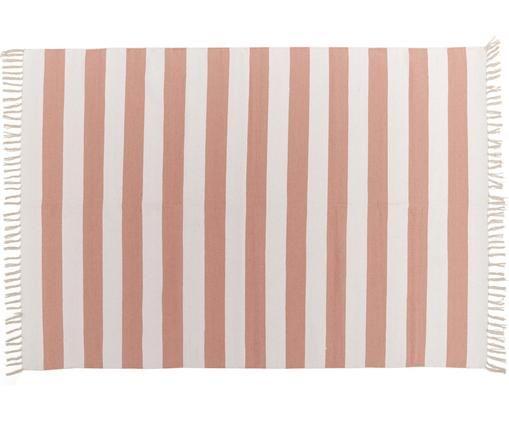 Tapis à rayures en coton corail/blanc Malte, Rouge corail, blanc