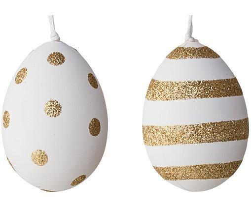 Zestaw zawieszek dekoracyjnych Glitter, 2 elem., Tworzywo sztuczne, Biały, złoty, Ø 5 x 7 cm