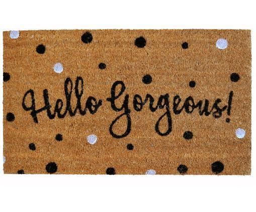 Fußmatte Hello Gorgeous, Oberseite: Kokosfaser, Unterseite: PVC, Beige, Schwarz, Silberfarben, 45 x 75 cm