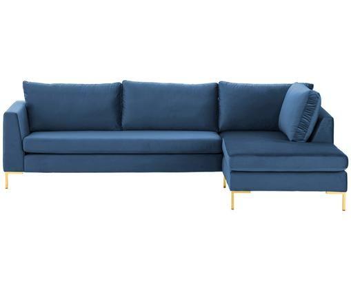Samt-Ecksofa Luna, Bezug: Samt (Polyester) 80.000 S, Gestell: Massives Buchenholz, Füße: Metall, galvanisiert, Blau, B 280 x T 184 cm