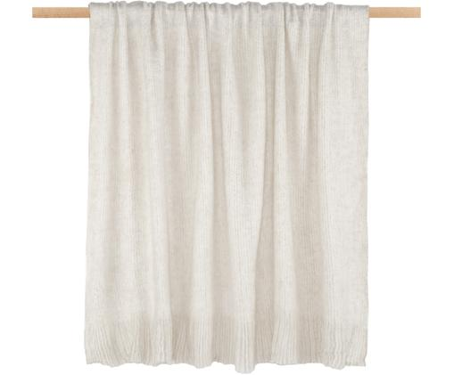 Plaid Moha Plain, 10%Wolle, 25%Polyester, 65%Acryl, Gebrochenes Weiß, Beige, meliert, 130 x 170 cm