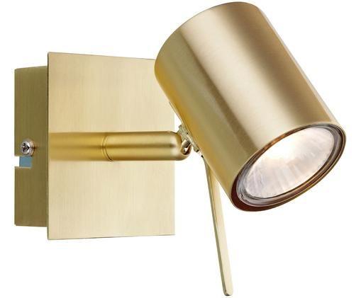 Applique a LED Hyssna con spina, Metallo ottonato, spazzolato, Ottone, Larg. 8 x Alt. 9 cm