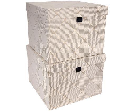 Aufbewahrungsboxen-Set Tristan, 2-tlg., Goldfarben, Weiß