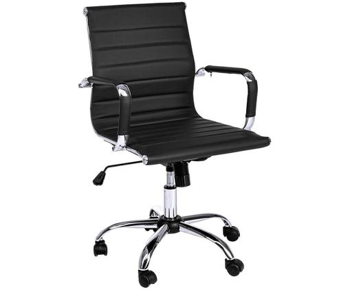 Chaise de bureau en cuir synthétique à hauteur ajustable Praga, Noir