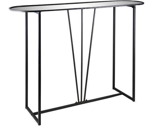 Metall-Konsole Imagine mit Spiegelglas, Metall, beschichtet, Spiegelglas, Schwarz, Spiegelglas, B 115 x T 30 cm