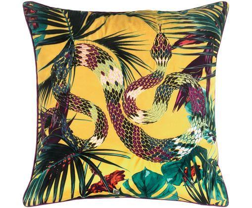 Haftowana poszewka na poduszkę z aksamitu Snakes, Aksamit poliestrowy, Żółty, S 45 x D 45 cm