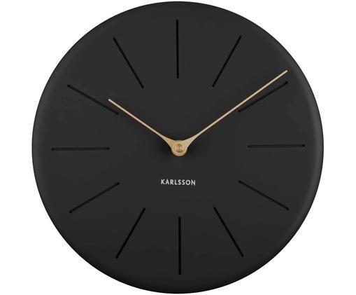 Orologio da parete Sola, Quadrante: poliresina, Puntatore: metallo rivestito, Nero, ottonato, Ø 25 x Prof. 4 cm
