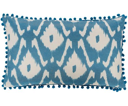 Kissenhülle Ikat Zadina mit Pompoms, Baumwolle, Creme, Blau, 30 x 50 cm