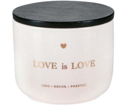 Opbergpot Love is Love, Pot: keramiek, Deksel: gecoat hout, Roze, goudkleurig, zwart, Ø 10 x H 9 cm