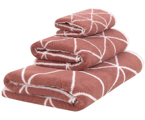 Set asciugamani reversibili Elina, 3 pz., Terracotta, bianco crema