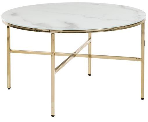 Mesa de centro Athena con tablero de vidrio, Tablero: vidrio, Estructura: acero, latón, Blanco-gris veteado, dorado, Ø 78 x Al 44 cm