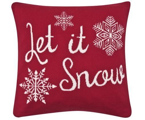 Strick-Kissenhülle Let it Snow in Rot/Weiß mit Schriftzug, Rot, Cremeweiß